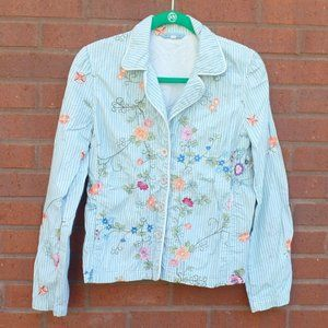 Johnny Was Seersucker Embroidered Floral Jacket S
